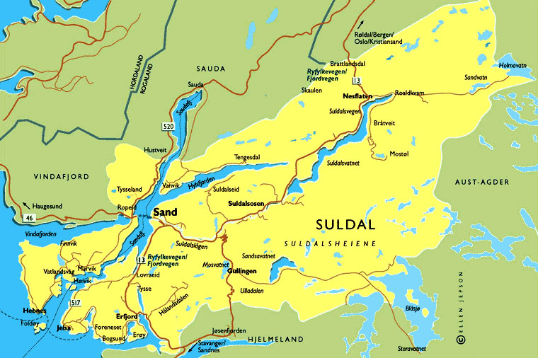 WELCOME TO SULDAL Suldal Kommune - Norway komune map